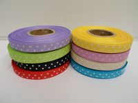 Canary bright Yellow & White Polka dot / spotty satin ribbon 2 or 20 metres x 10mm